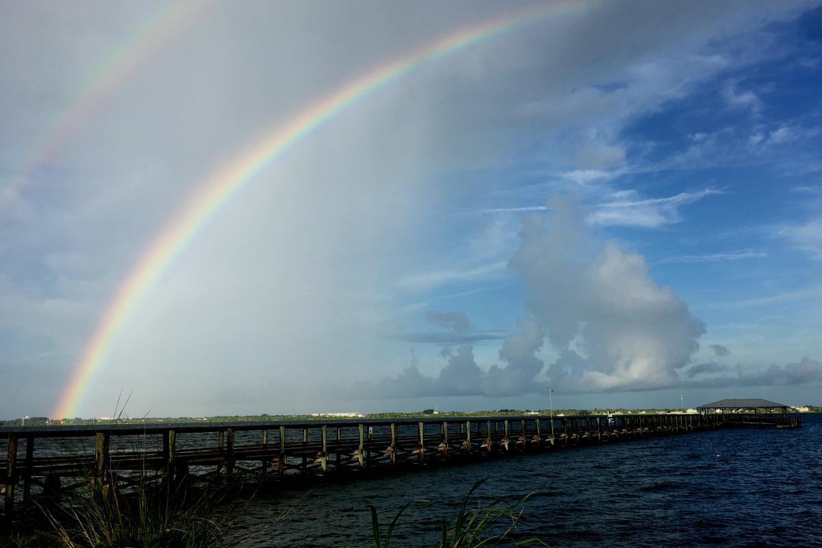 Twin Rainbows Over Melbourne Beach Pier